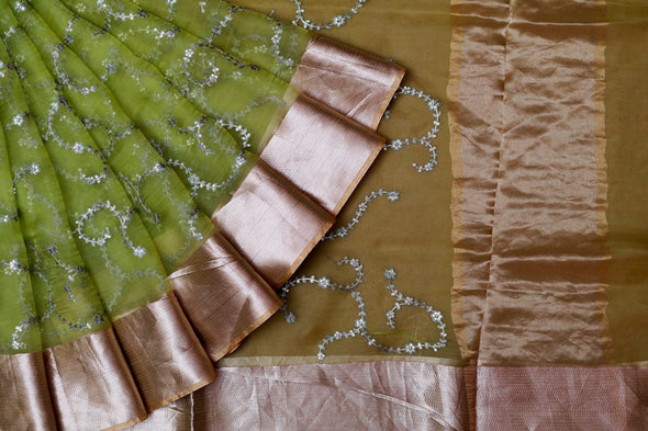 Green Organza Embroidery Designer Saree