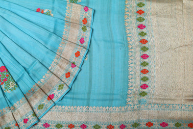 Tussar Jamdhani Embroidery Saree In Sky Blue