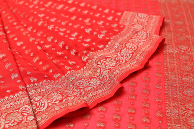 Red Banarasi Georgette Handloom Saree