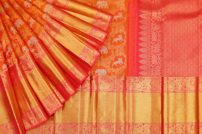 Kanchipuram Silk Saree in Orange With Animal Motifs