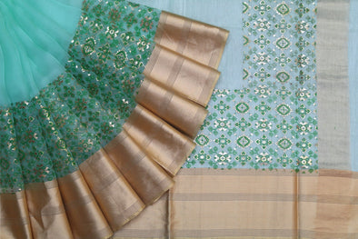 Green Organza Foil Printed Saree with Tissue Border