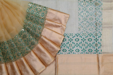 Beige and Greem Organza Foil Printed Saree