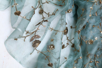Pastel Blue Organza Floral Embroidered Unstitched Fabric