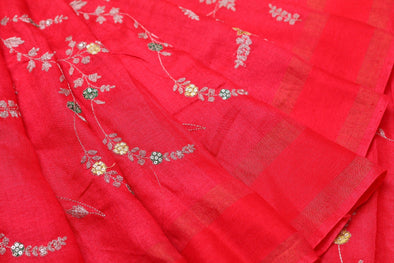 Red Tussar Embroidery Handloom Saree