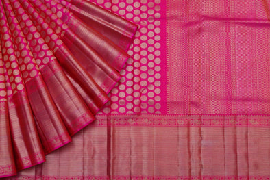 Luminous Dots Kanchipuram Silk Saree In Pink