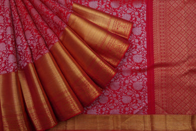 Deep Blush Pink Kanchipuram Silk Handloom Saree With Floral Jaal