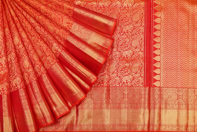 Kanchipuram Animal Jaal Silk Saree In Red
