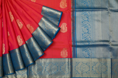 Orangish Pink Kanchipuram Silk Handloom Saree with Paisley Buttas