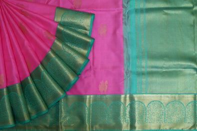 Bright Pink Kanchipuram Silk Handloom Saree with Horses