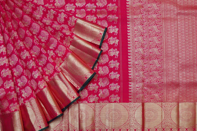 Animal Motif Embellished Red Kanchipuram Silk Saree