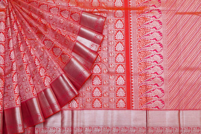 Royal Glory Kanchipuram Silk Checks Saree In Orange