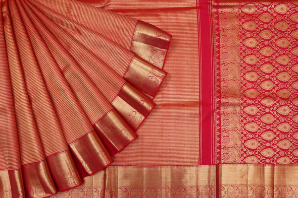 Royal Red and Gold Kanchipuram Silk Handloom Saree with Stripes
