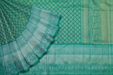 Zari Jaal Kanchipuram Silk Saree In Sea Green
