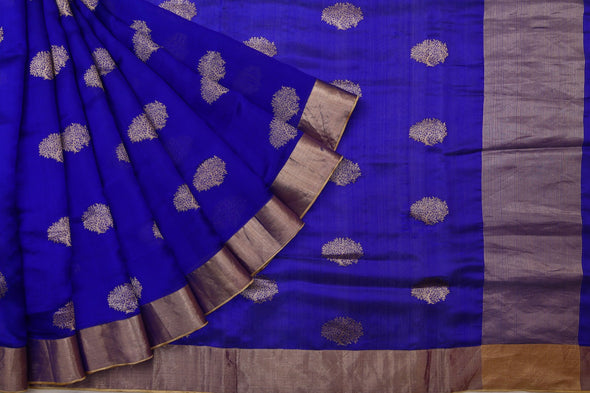 Royal Blue Pranpur Silk Handloom Saree With Gold Tree Motifs