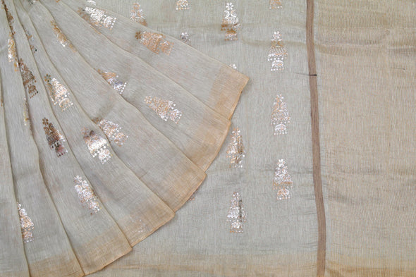 Peacock Jhumka Foil Print Linen Saree in Cream