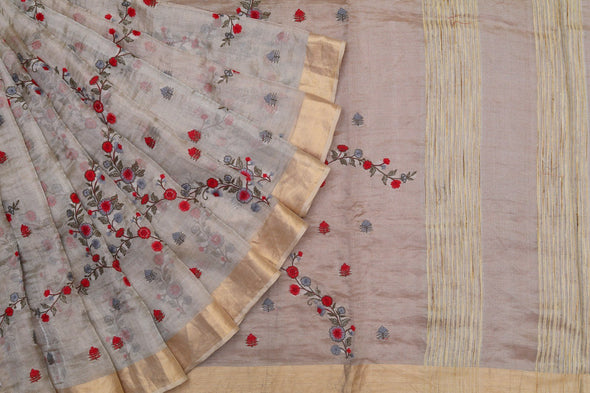 Light Gold Tissue Embroidered Saree with Red and Blue Flowers