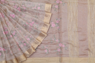 Golden Tissue Floral Embroidered Saree