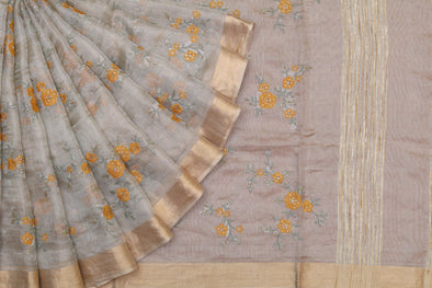 Golden Tissue Embroidered Saree with Yellow Blossoms