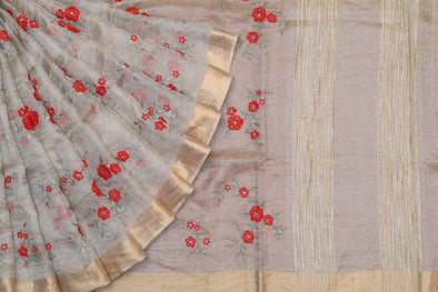 Golden Tissue Embroidered Saree with Red Blossoms