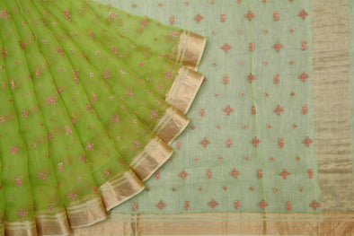 Parrot Green Organza Embroidered Saree