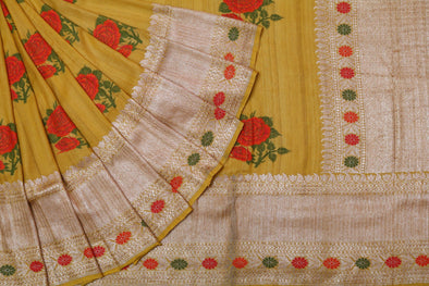 Tussar Jamdhani Embroidery Saree In Mustard Yellow