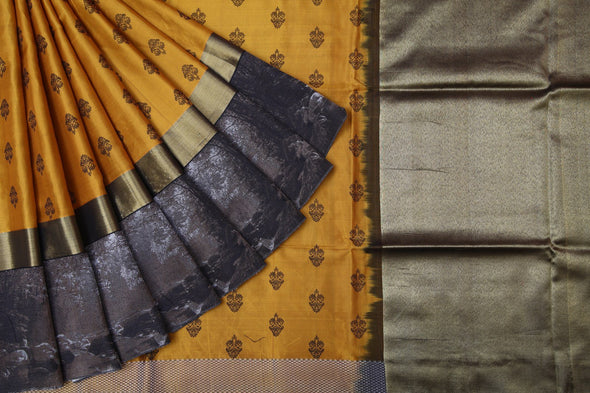 Mustard Yellow Kanchipuram Silk Handloom Saree with Scenic Border
