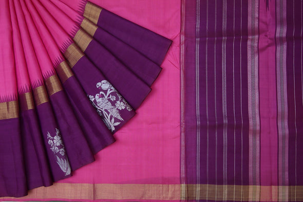 Bubblegum Pink Kanchipuram Silk Handloom Saree with Parrots