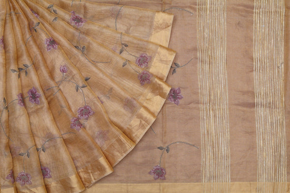 Golden Tissue Embroidered Saree with Purple Blossoms