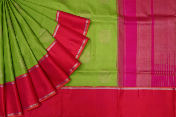 Lime Green Kanchipuram Silk Handloom Saree with Peacocks