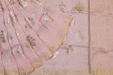 Linen Foil Print Saree in Enticing Pink
