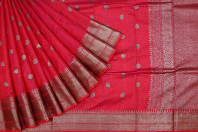 Reddish Pink Banarasi Tussar Handloom Saree With Dot Buttas