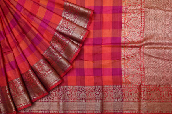 Multi Color Checks Patterned Banarasi Tussar Handloom Saree