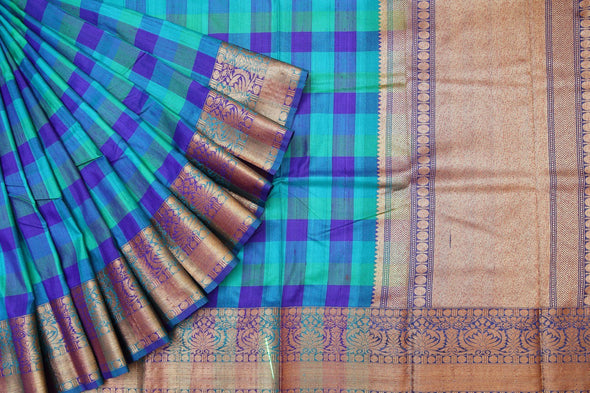Blue Checkered Banarasi Tussar Handloom Saree