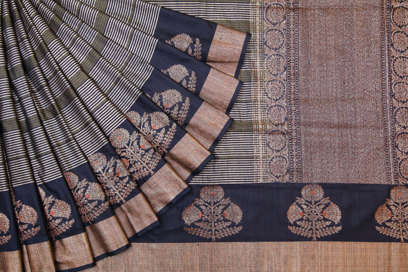 Magnificent Black Banarasi Tussar Floral Border Saree.
