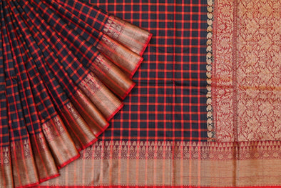 Banarasi Tussar Handloom Checked Saree In Rustic Black