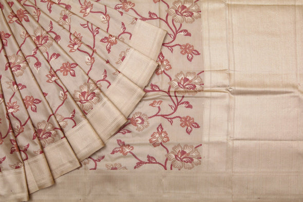 Light Gold Banarasi Tusser Handloom Saree with Floral Jaal