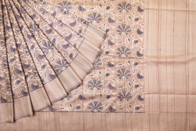 Light Khaki Banarasi Tussar Handloom Saree with Floral Jaal