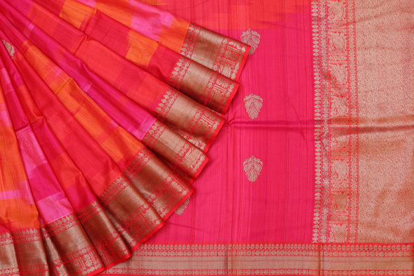 Banarasi Tussar Handloom Half-n-Half Saree In Pink & Orange