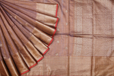 Brown Banarasi Tussar Handloom Saree with Floral Buttas