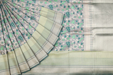Light Ash Grey Banarasi Tussar Handloom Saree with Floral Jaal