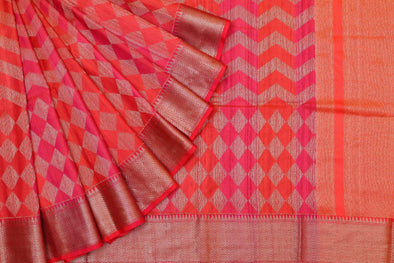 Enticing Banarasi Tussar Handloom Jaal Saree In Orange & Pink