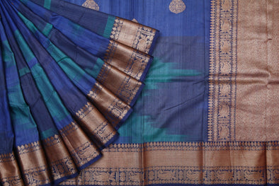 Shades Of Blue Ikkat Patterned Banarasi Tussar Handloom Saree