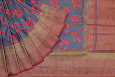 Banarasi Tussar Handloom Lotus Butta Saree In Cement Grey