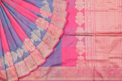 Banarasi Checked Handloom Saree In Grey & Pink