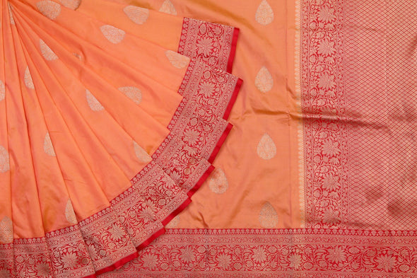 Alluring Sandal Orange Banarasi Handloom Saree