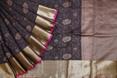 Coffee Black Banarasi Tussar Silk Handloom Saree with Floral Jaal