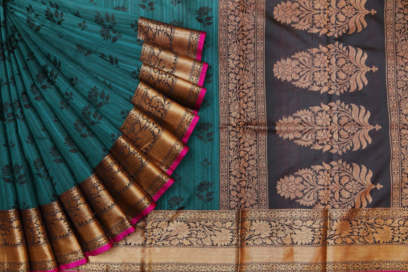 Peacock Blue Tussar Banarasi Handloom Saree.