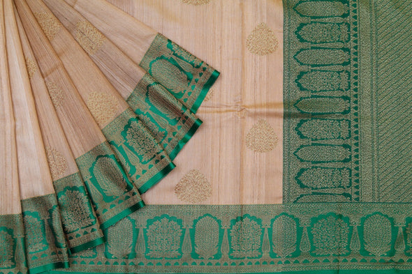 Banarasi Tussar Handloom Saree In Cream & Green