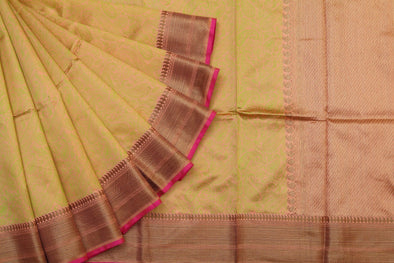 Peachy Orange Banarasi Handloom Saree