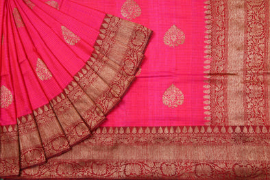 Hot Pink Banarasi Tussar Handloom Saree with Stripes